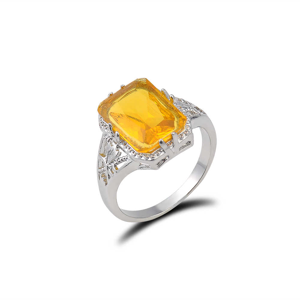 1 PC Vintage Women Sliver Ring yellow square  Natural stone Party Wedding Engagement jewelry gift not adjustable Size 6-9