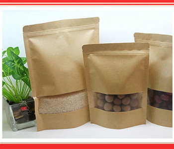 20cm*30cm,100pcs/lot,stand up Zipper/zip lock Kraft paper bag with window PE inside kraft bag for food