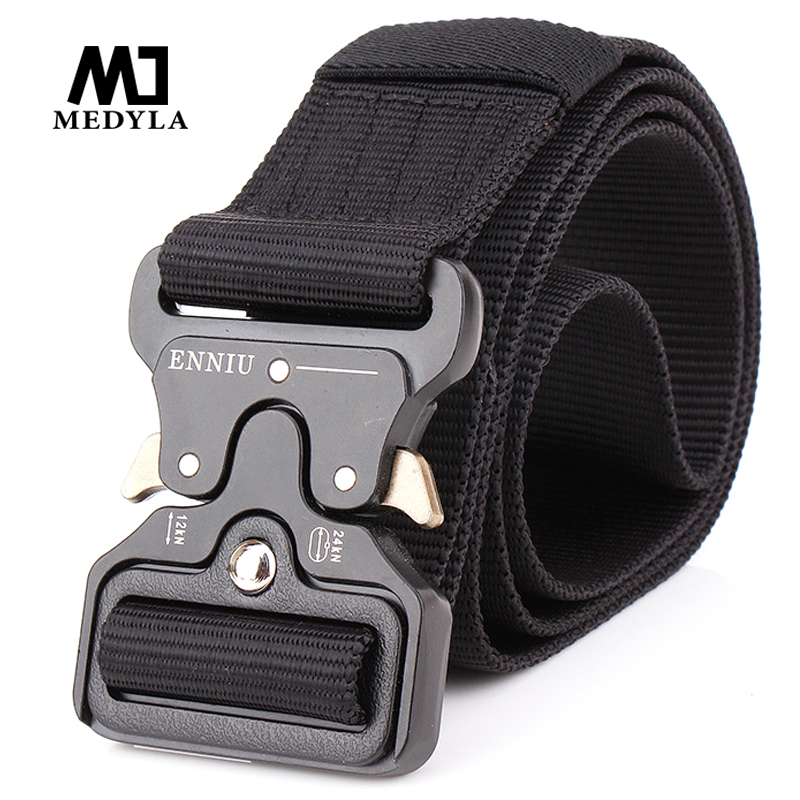 MEDYLA Men Army Tactical Nylon Belts  Special Forces SWAT Military Equipment  Army Belt US Soldier Strap Waistband