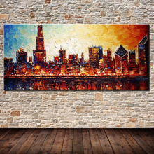 100% Hand painted palette knife abstract city landscape oil painting on canvas modern fashion wall art oil painting home decor