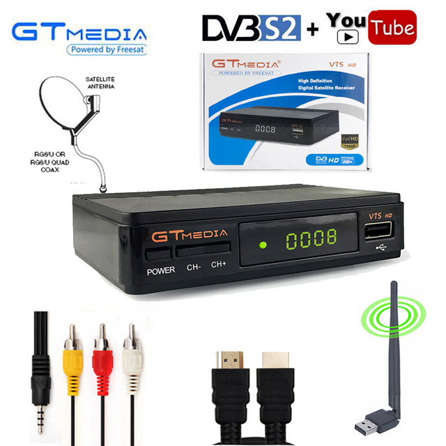 Gtmedia V7S HD DVB-S2 Receptor Digital TV Box Tuner Satellite Receiver PowerVu Biss cline Decoder USB WiFi Youtube By freesat v7
