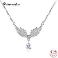 Shineland 2017 Women Necklace 100 Genuine 925 Sterling Silver Angel Wings AAA Zircon Choker Necklaces Pendants