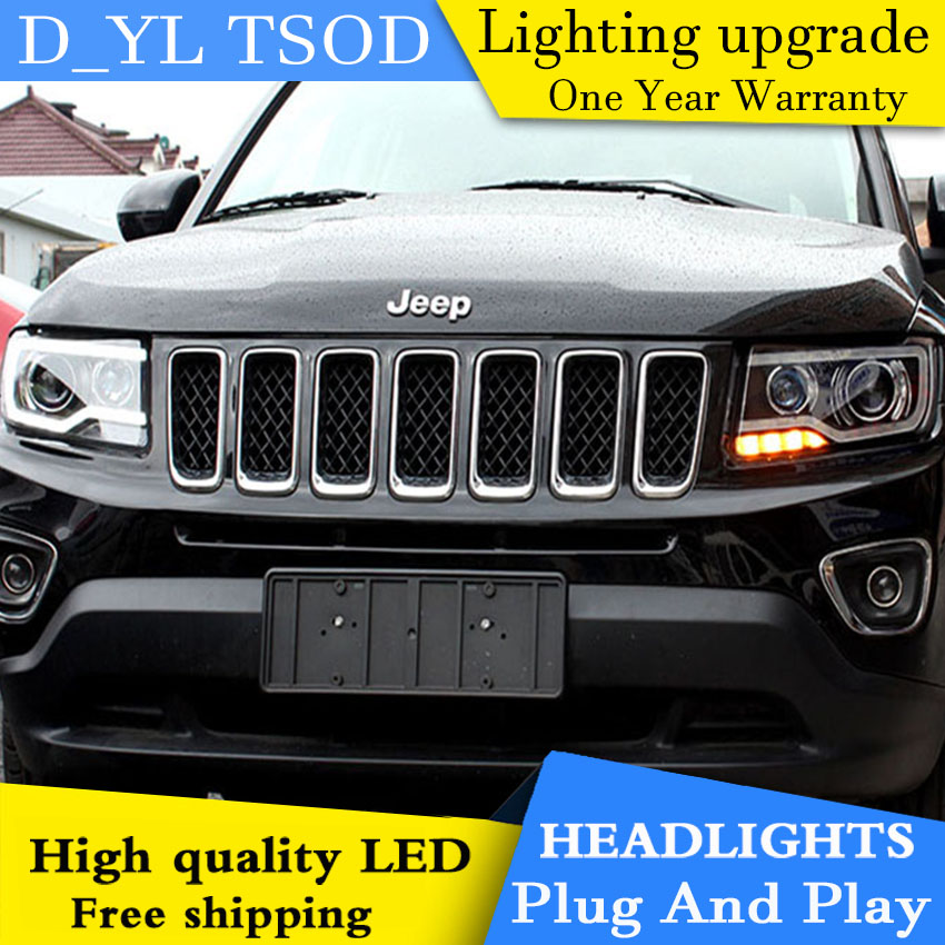 d yl car styling for jeep compass headlights 2011 2015. Black Bedroom Furniture Sets. Home Design Ideas