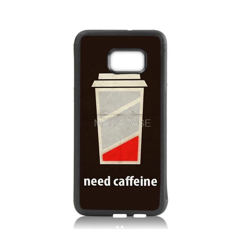Hot Sale Fashion tpu soft black phone case low battery need caffeine For case GALAXY s6 edge plus