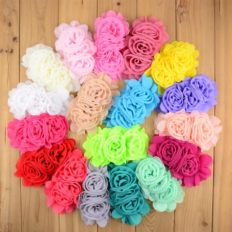 100pcs/lot 14cm*8.0cm DIY Chiffon Flower Three Rosette Flower Lined For Girl Headband Summer Dress Decoration 22 Colors TH203
