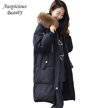 Winter New Women White Duck Down Jacket High Quality Warm Coat Thick Plus Size Jacket Female Hooded Fur Collar Outwear CXM121