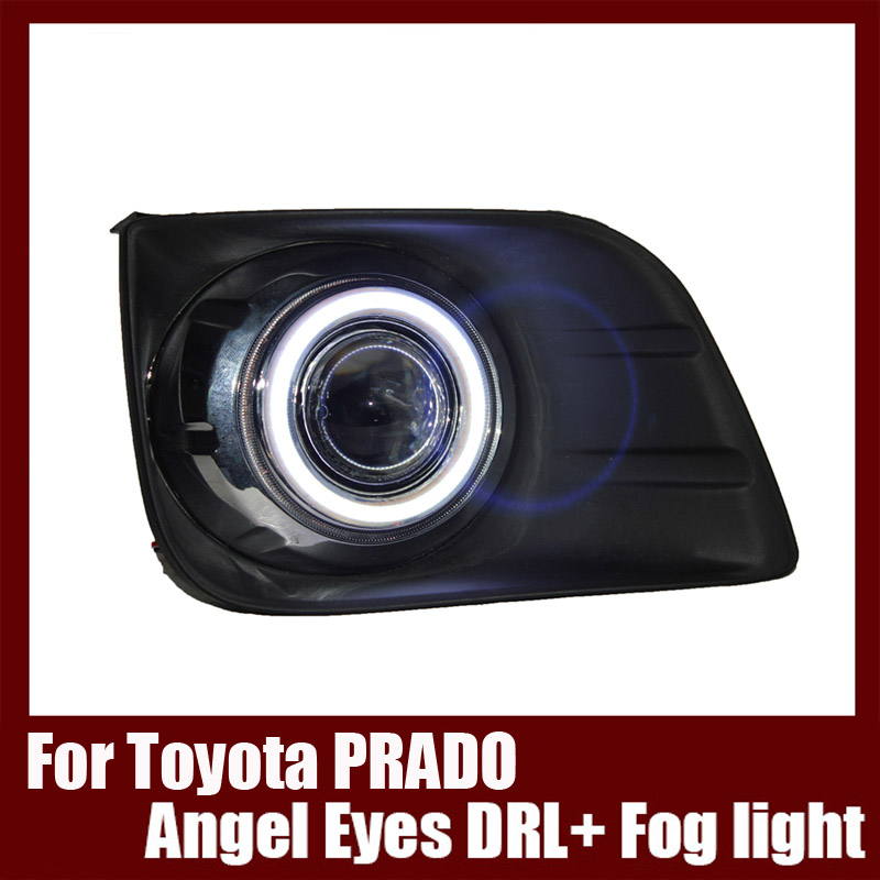 For Toyota prado 2010-2012 COB Angel Eyes DRL with Fog lights Projector Lens Lamp Bumper Cover brand new superb led cob angel eyes hid lamp projector lens foglights for vw tiguan 2010 2012