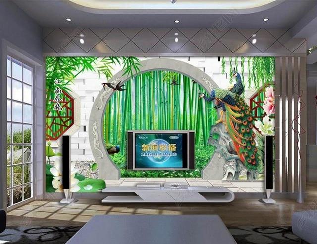 3d tapeten f r wand bambus garten runde t r pfau 3d stereoskopischen foto tapetenwandbilder. Black Bedroom Furniture Sets. Home Design Ideas