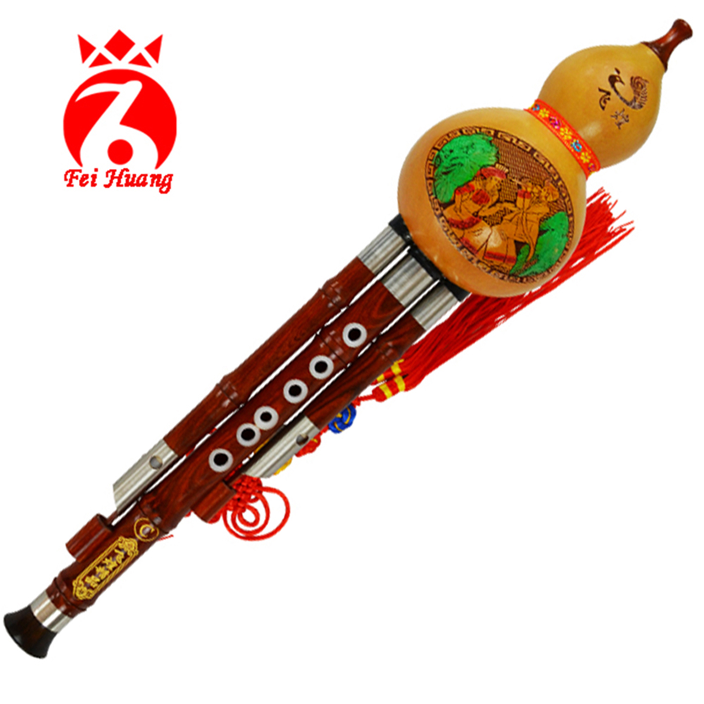 Musical Instrument Hulusi Chinese Traditional Instruments Yunnan Gourd Cucurbit Flute Rosewood Pipe Key C Bb Tone Wood Wind F12 chinese traditional high quality detachable single pipe cross bblown flute bawu ebony ba wu key of g f c bb