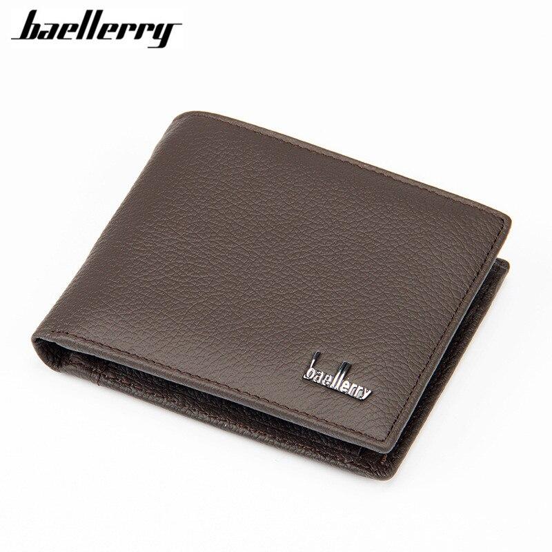 Baellerry New 2018 genuine leather men wallets famous brand men wallet male black coin purse ID card dollar bill wallet wallet