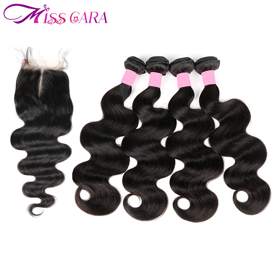 Indian Body Wave 4 Bundles With Closure 100% Human Hair Bundles With 4*4 Middle/Free Part Closure Miss Cara Remy Hair Weaves