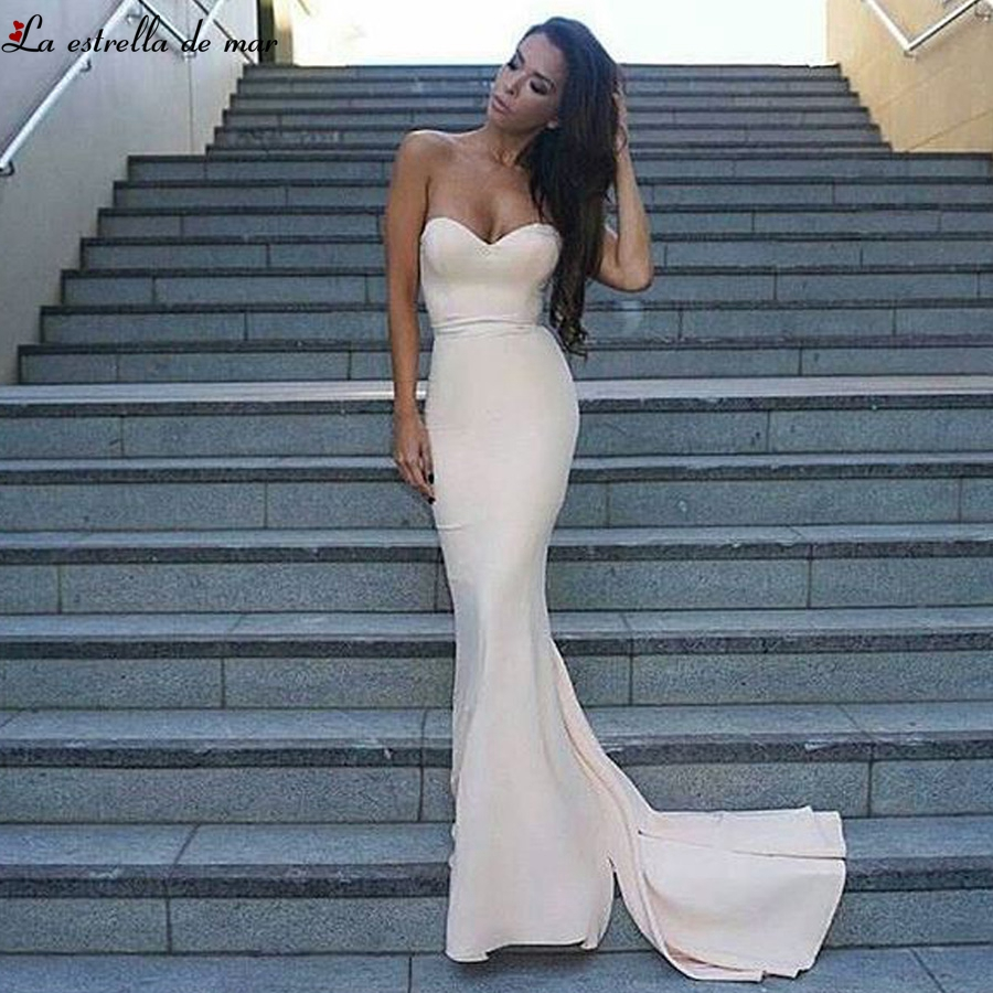 Robe demoiselle d'honneur pour femme2019 new sweetheart satin backless sexy mermaid ivory red   bridesmaid     dress   long plus size