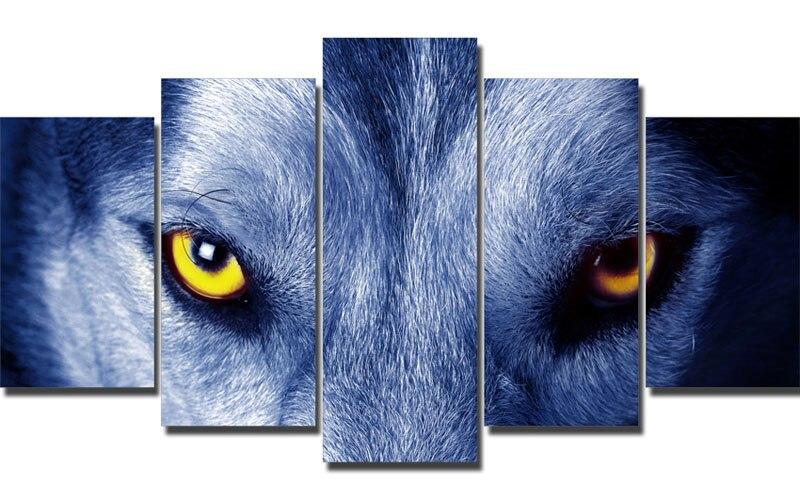 5 Piece Blue Wolf Eyes Animal Poster Canvas Printing With Framed20x35cmx2,20x45cmx2,20x55cm
