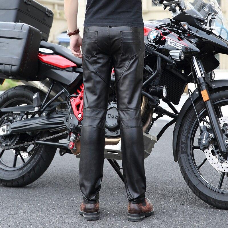 Высококачественные Новые Мужские штаны из натуральной кожи мужские облегающие локомотивные брюки Корейский мужской мото натуральная овчина карандаш брюки 30 36 - 4