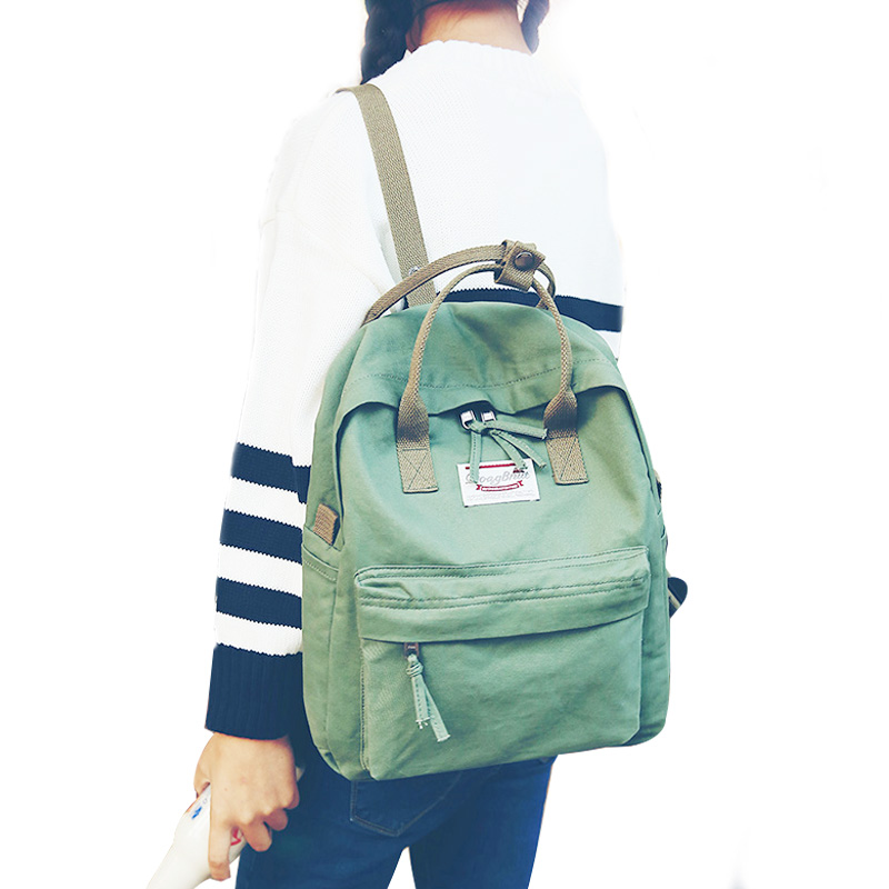 High Quality Women Backpack for School Teenagers Girls Vintage Stylish School Bag Ladies Cotton Fabric Backpack