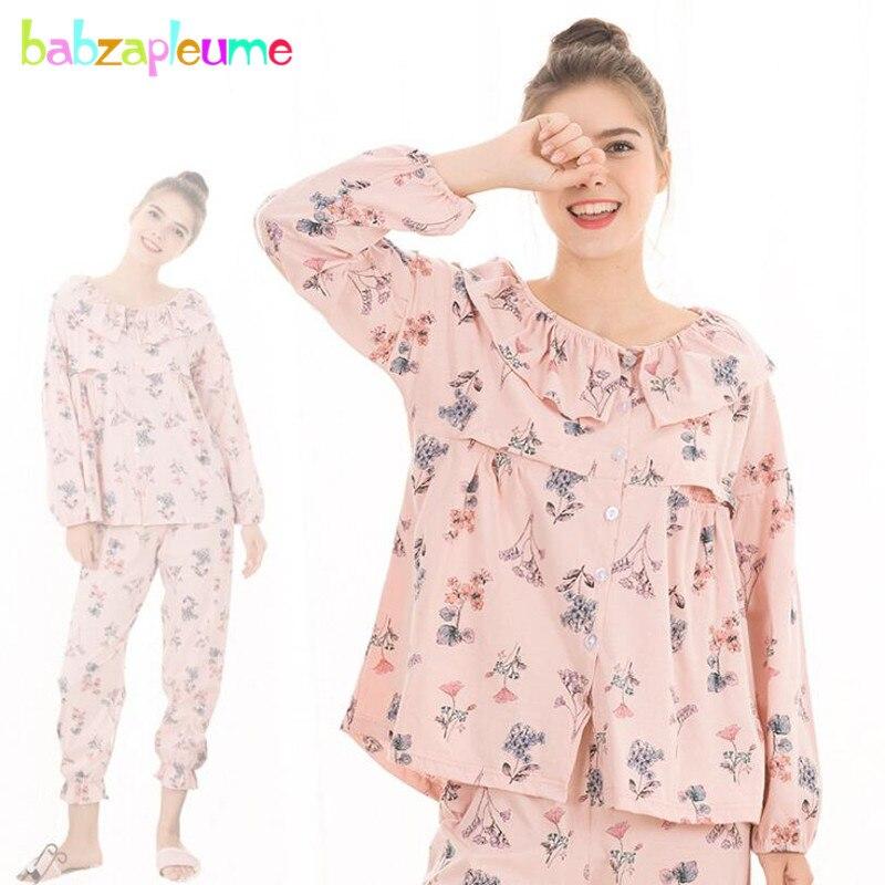 27e224f292e Spring Maternity Pajamas Cotton Flowers Nursing Night Wear Women Breast  Feeding Sleepwear Plus Size Pregnancy Clothing BC1795 1-in Sleep   Lounge  from ...