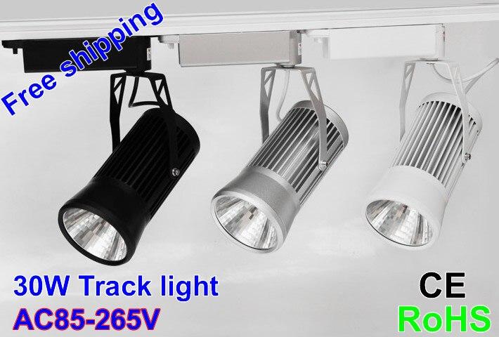 ФОТО Epistar Chip Led Track light cob 20W 30W 85-265V 3000K 4000K 6000K Track Spot Led Light Black Track rail Clothing store