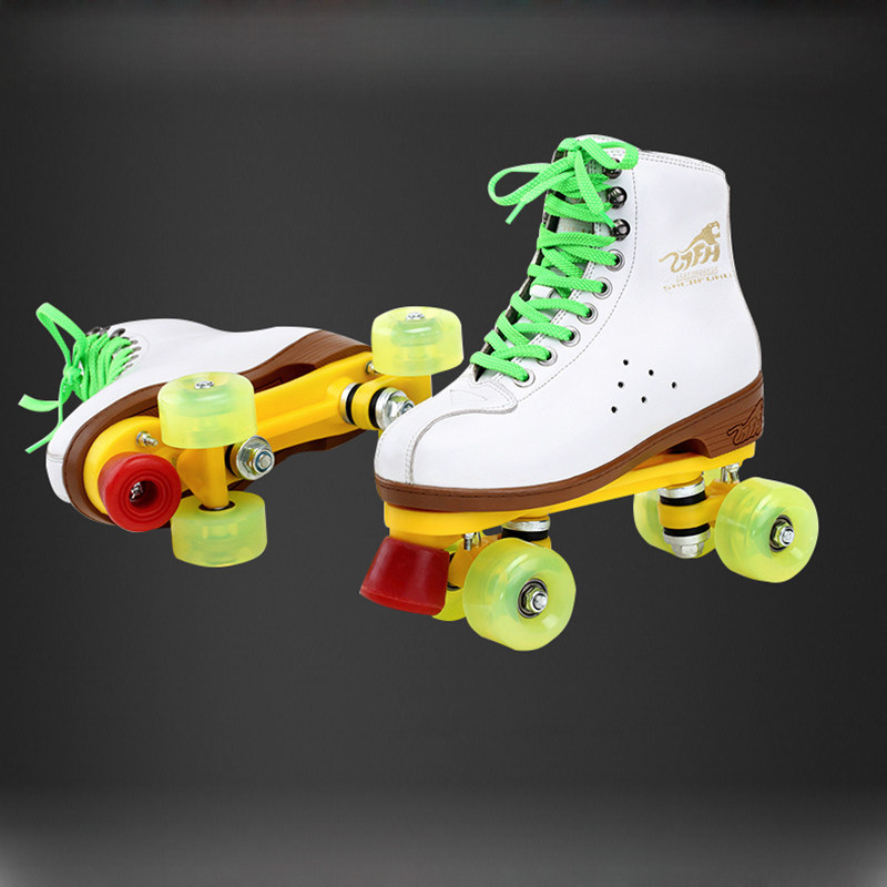 Cowhide Leather Two Line Roller Skating Shoes Double Row White Skates Children Adult Parenting Sneakers 4 PU Wheels Unisex IB45 black roller skates double line skates men women lady model adult pink f1 racing 4 wheels two line roller skating shoes patines