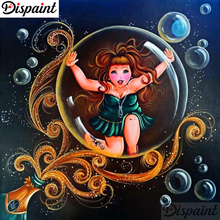 Dispaint Full Square/Round Drill 5D DIY Diamond Painting Cartoon woman 3D Embroidery Cross Stitch Home Decor A06334