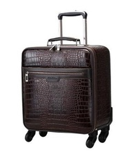 Crocodile leather travel suitcase trolley Pu leather rolling luggage on wheels