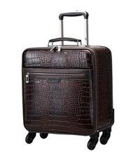 In pelle di coccodrillo borsa da viaggio valigia trolley Dellunità di elaborazione di cuoio dei bagagli di rotolamento su ruote