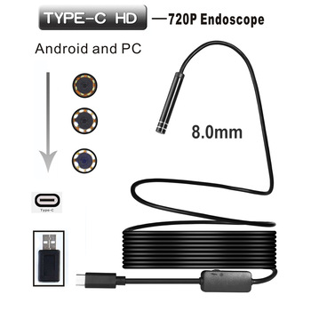 720P 8mm Lens Type-C USB Endoscope Borescope Tube IP67 Waterproof Inspection Endoscope Mini Camera For Android Phone Windosw PC 1