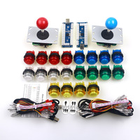 New DIY MAME Arcade Game Kits 2x Arcade Joystick + 20x LED Transparent Plastic Push Button With Micro Switch + LED USB Encoder
