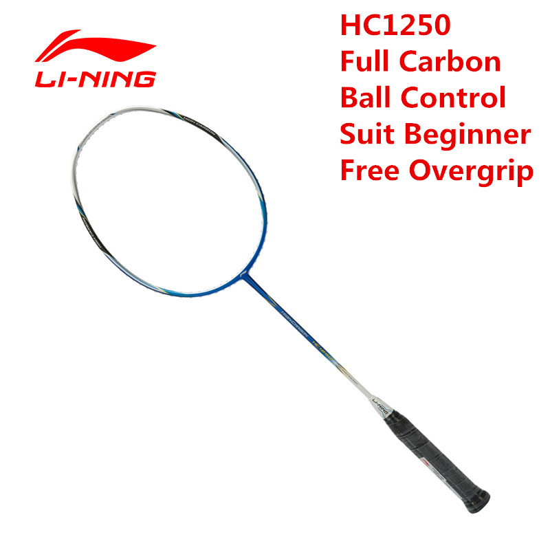 Li-Ning Badminton Racket HC1250 Ball Control Type Carbon Fiber Moderate Lining AYPK084 Racquet Sports With Free Overgrip