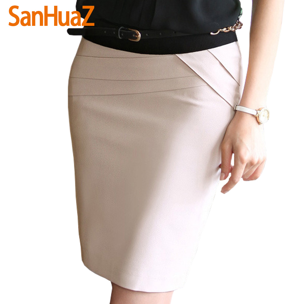 2016 Autumn Winter Women Skirts Office Formal Pencil Skirts Casual Sexy Slim High Waist Knee Length