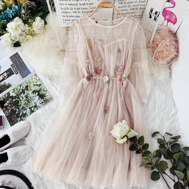 HISUMA  Spring New Women O-neck Lantern Sleeve Gauze Fairy Puff Dress Female Flower Appliques Elegant Mesh Princess Dresses