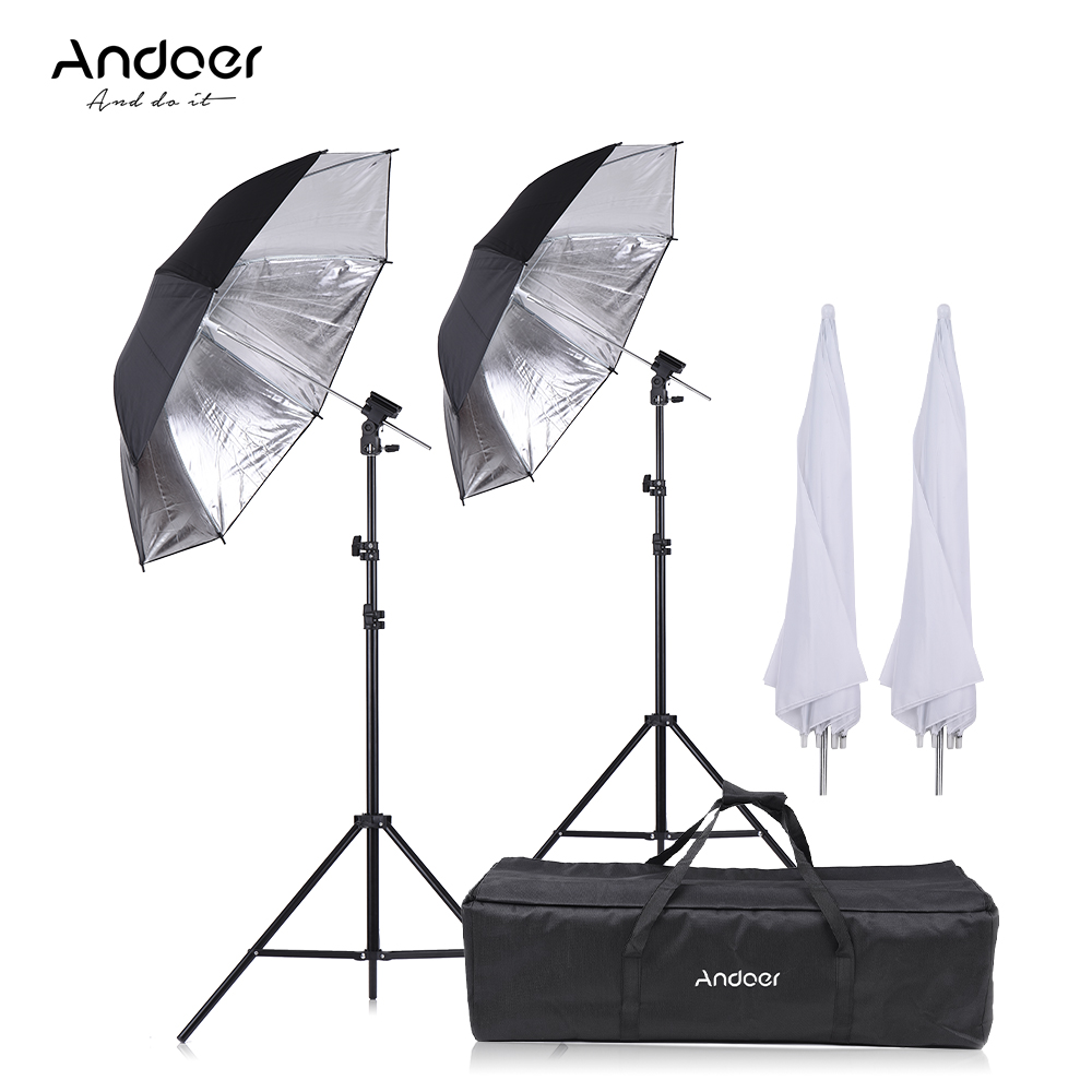 Andoer Camera Soft Umbrella Flash Shoe Mount Kit 2 2m Light Stand 2 83cm Translucent White