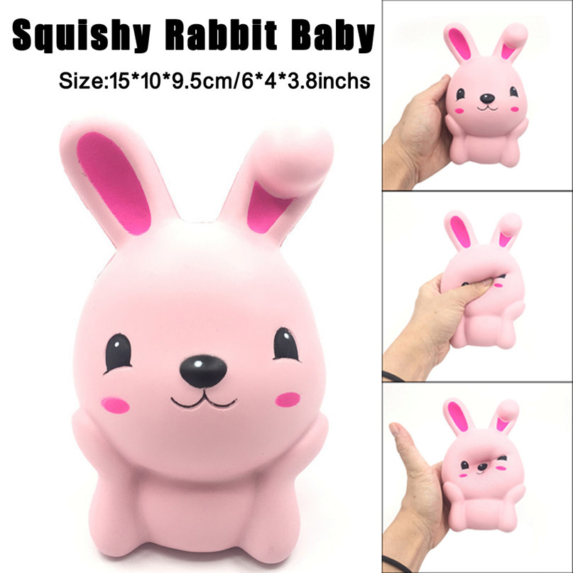 15cm Squishy Pink Cute Rabbit Squeeze Slow Rising Fun Toy Gift Phone Strap Decor for Kids Toys Dropshipping, Free Shipping, GU30
