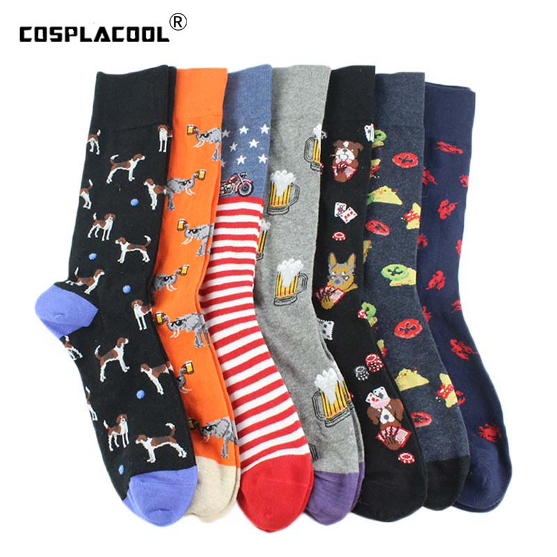 [COSPLACOOL]Animal Crew Funny Socks Men Cartoon Dog/Food Socks Novelty Colorful Gift Sokken Unisex Divertido Calcetines Hombre