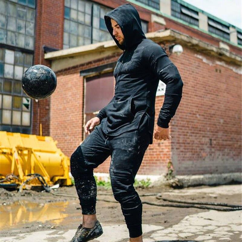 cbbb31ee2 Gymohsí traje de hombre ropa deportiva jogger fitness suit hombres gyms Tracksuits  hombres Bodybuilding Hoodies + Pantalones casual Outwear trajes en Juegos  ...