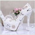 Уникальный Дизайн Цветы Перл Diamond Свадебные Туфли Супер Высокие Каблуки Насосы Невесты Платформа Хрустальные Туфли