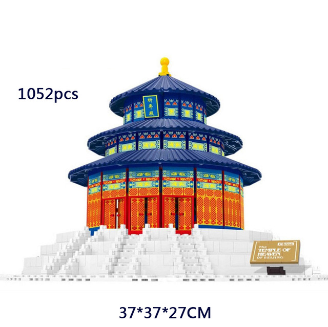 цены 2018 World famous Architecture temple of heaven Beijing Perking China building block model Standard brick size toy for kid