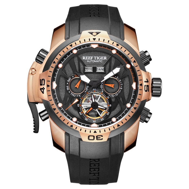 Reef Tiger/RT Sport Watch Men Big Rose Gold Transformer Edition Waterproof Military Watches Mechanical Wrist Watch RGA3532Reef Tiger/RT Sport Watch Men Big Rose Gold Transformer Edition Waterproof Military Watches Mechanical Wrist Watch RGA3532