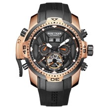 цена Reef Tiger/RT Mens Sport Watch with Year Month Date Day Perpetual Calendar Big Dial Rose Gold Watches RGA3532 онлайн в 2017 году