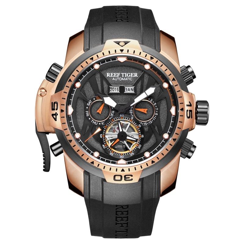 Reef tiger/rt esporte relógio masculino grande ouro rosa transformador edição relógios militares à prova dwaterproof água relógio de pulso mecânico rga3532