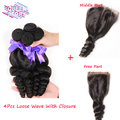 Mongolian Top Closure 4 Bundles Loose Wave Human Hair  With Lace Closure  Middle Or Free Part Unprocessed Cheap Closure