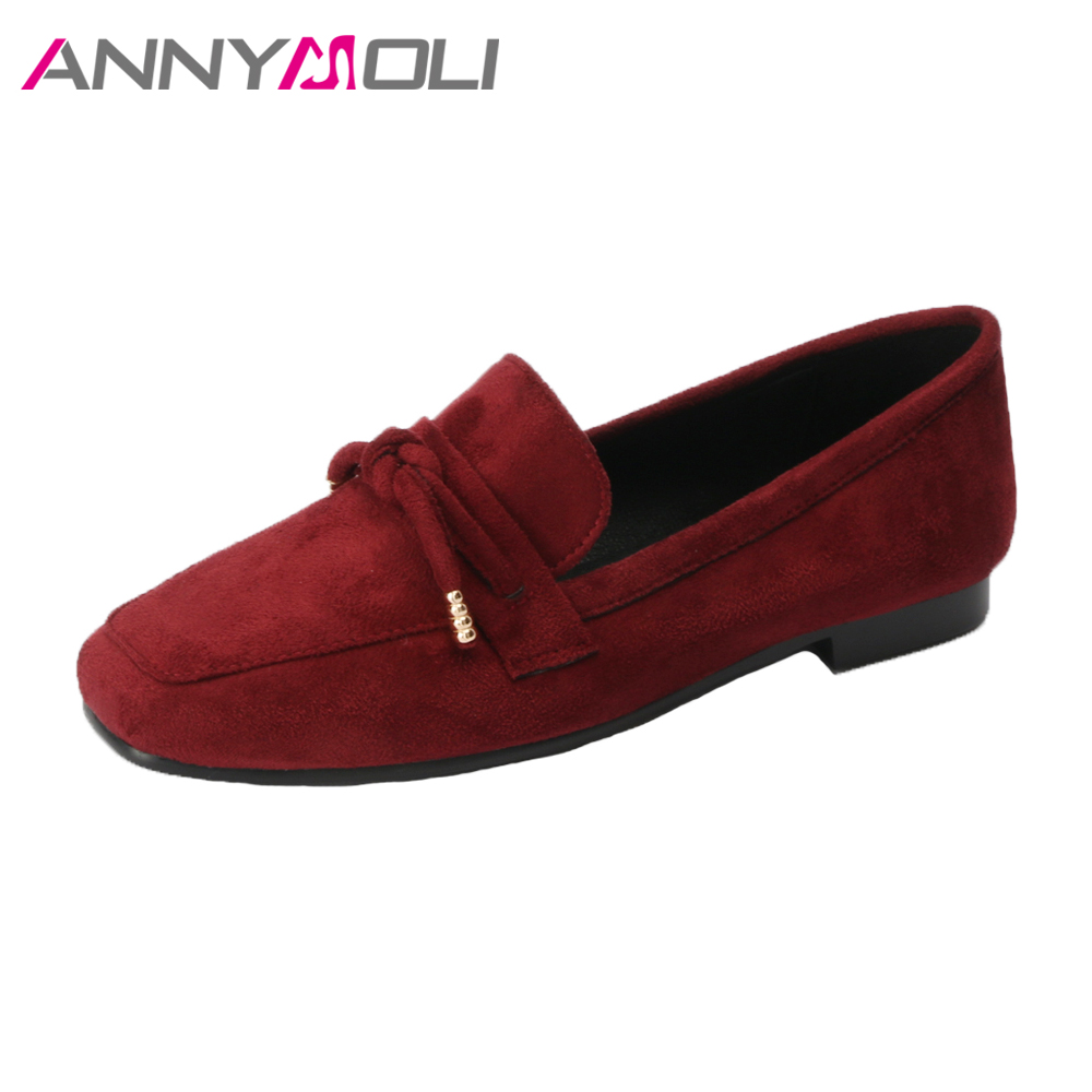 ANNYMOLI 2018 Shoes Women Ballet Flats Slip On Loafers Bow-Knot Casual Shoes Spring Square Toe Ladies Flat Shoes Big Size 42 43 summer slip ons 45 46 9 women shoes for dancing pointed toe flats ballet ladies loafers soft sole low top gold silver black pink