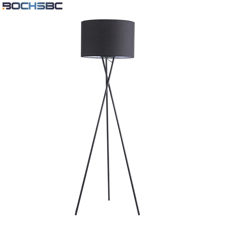 BOCHSBC Metal Trigemin Stand Fabric Lampshade Floor Lamps European Modern Lights for Bedroom Living Room Dinning