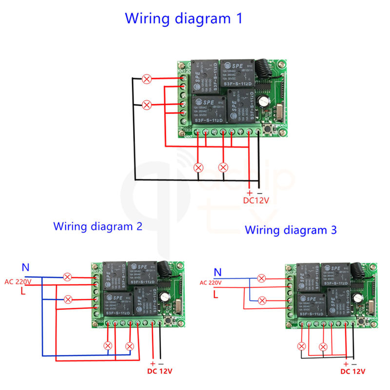 433mhz Universal Wireless Remote Control Switch Dc 12v 4ch Relay Receiver Module With 4 Channel Rf 433 Mhz Transmitterin Controls From: 4 Channel Momentary Remote Wiring Diagram At Eklablog.co