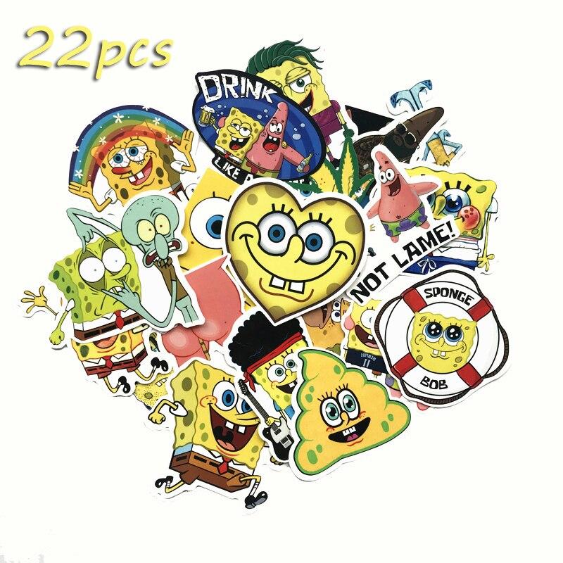 NEW Cartoon 22Pcs Animation 2020 Kawaii SpongeBob Laptop Bike Motorcycle Pvc Phone Car Case Decal Stickers