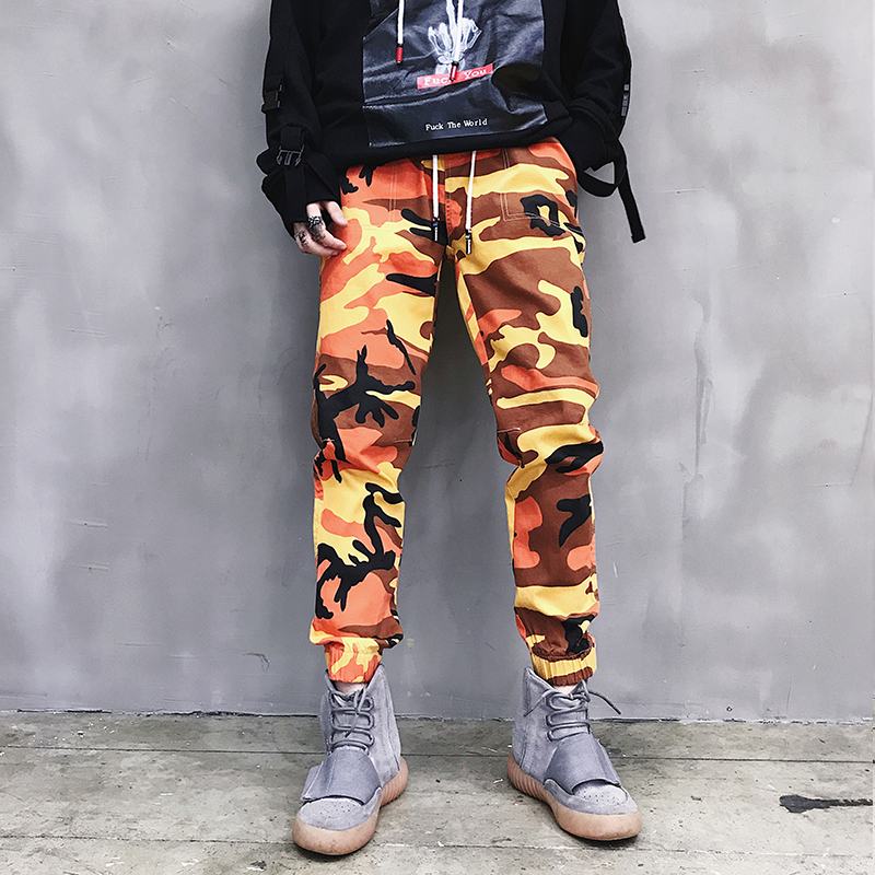 BYWX Men Straight Drawstring Camouflage Mid Rise Classic Sport Baggy Pants