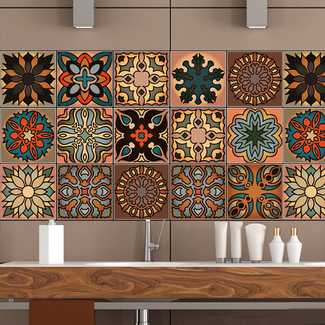 20*100cm Moroccan Style Retro Pattern Tile Floor Wall Sticker Kitchen  Bathroom Art Mural Home