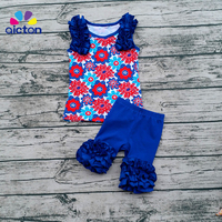 2017 kids summer shorts outfits July 4th boutique outfits cotton floral tank top  ruffle outfits