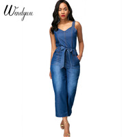 Wendywu New Arrived Summer Women Wide Leg Loose Denim Overalls Casual Jumpsuit Boyfriend Style Pockets Jeans Romper