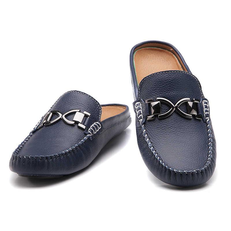 f0dedca11e7083 ... Men s sandals backless leather slippers shoes pedal Doug half tide - lazy  summer Mens Sandals ...