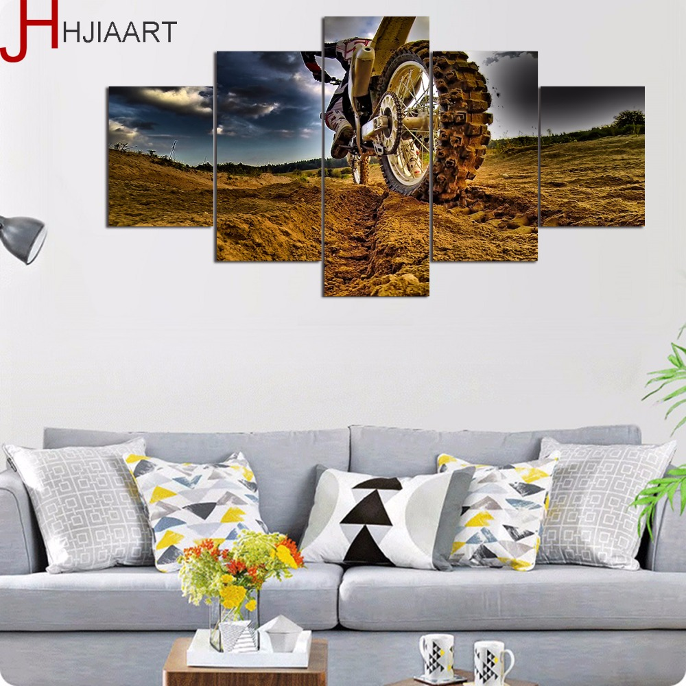 HJIAART 5 Panels Motor Cycle Painting for Living Room Sports Framed Wall Art Picture Gift Home Decoration Game Posters